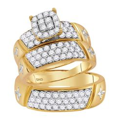 14kt Yellow Gold His & Hers Round Diamond Cluster Crosses Matching Bridal Wedding Ring Band Set 1-5/