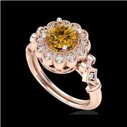 1.2 ctw Intense Fancy Yellow Diamond Art Deco Ring 18K Rose Gold