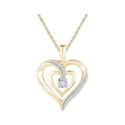 10kt Yellow Gold Round Diamond Moving Twinkle Solitaire Heart Pendant 1/10 Cttw
