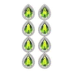 8.4 ctw Peridot & Diamond Micro Pave Halo Earrings 10K White Gold