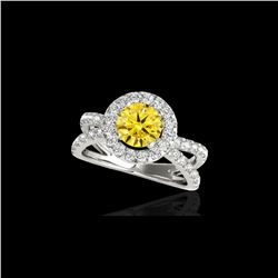 2.01 ctw Certified SI/I Fancy Intense Yellow Diamond Ring 10K White Gold
