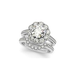 1.90 ctw Certified VS/SI Diamond 2pc Wedding Set Halo 14K White Gold