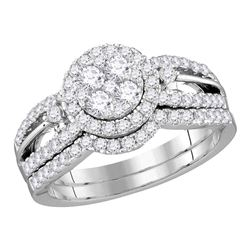 14kt White Gold Round Diamond Cluster Bridal Wedding Engagement Ring Band Set 1.00 Cttw