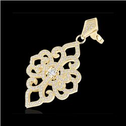 2.50 ctw Micro Pave VS/SI Diamond Designer Earrings 14K Yellow Gold