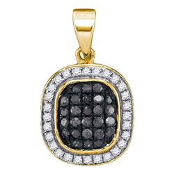 10kt Yellow Gold Round Black Color Enhanced Diamond Square Cluster Pendant 1/4 Cttw