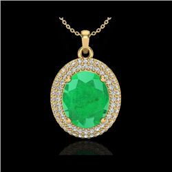 4.50 ctw Emerald & Micro Pave VS/SI Diamond Necklace 18K Yellow Gold