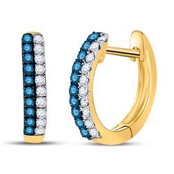 10kt Yellow Gold Round Blue Color Enhanced Diamond Huggie Earrings 1/5 Cttw