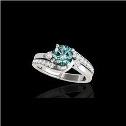 1.5 ctw SI Certified Fancy Blue Diamond Bypass Ring 10K White Gold