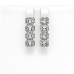 4.52 ctw Emerald Cut Diamond Micro Pave Earrings 18K White Gold