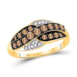 10kt Yellow Gold Round Brown Diamond Band Ring 1/2 Cttw