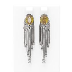 7.64 ctw Canary Citrine & Diamond Earrings 18K White Gold