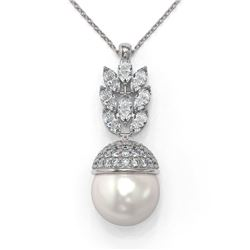 3.69 ctw Marquise Diamond and Pearl Necklace 18K White Gold