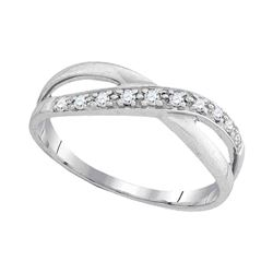 10kt White Gold Round Diamond Band Ring 1/10 Cttw