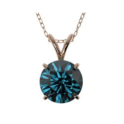1.50 ctw Certified Intense Blue Diamond Necklace 10K Rose Gold