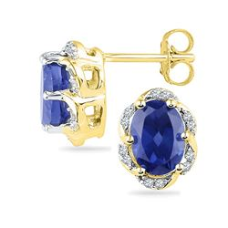 10kt Yellow Gold Oval Lab-Created Blue Sapphire Solitaire Diamond Earrings 2-1/2 Cttw