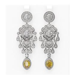 13.32 ctw Canary Citrine & Diamond Earrings 18K White Gold
