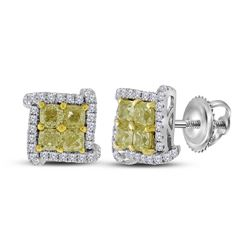 18kt White Gold Round Yellow Color Enhanced Diamond Square Cluster Earrings 1-1/2 Cttw