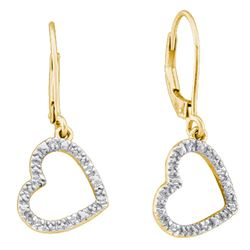 10kt Yellow Gold Round Diamond Heart Dangle Earrings 1/20 Cttw