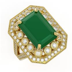 11.98 ctw Certified Emerald & Diamond Victorian Ring 14K Yellow Gold