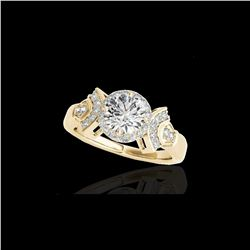1.56 ctw Certified Diamond Solitaire Halo Ring 10K Yellow Gold