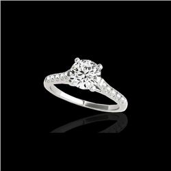 1.2 ctw Certified Diamond Solitaire Ring 10K White Gold