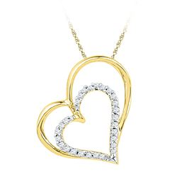 10kt Yellow Gold Round Diamond Double Heart Outline Pendant 1/8 Cttw