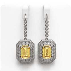 11.44 ctw Canary Citrine & Diamond Victorian Earrings 14K White Gold