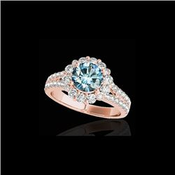 2.01 ctw SI Certified Fancy Blue Diamond Halo Ring 10K Rose Gold