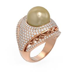 2.5 ctw Diamond and Pearl Ring 18K Rose Gold