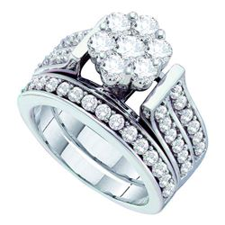 14kt White Gold Round Diamond Flower Cluster Bridal Wedding Engagement Ring Band Set 2.00 Cttw