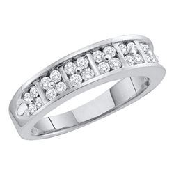 14kt White Gold Round Diamond Double Row Band Ring 1/2 Cttw
