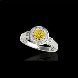 1.5 ctw Certified SI/I Fancy Intense Yellow Diamond Ring 10K White Gold