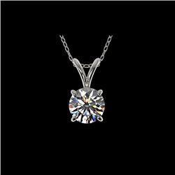 .77 ctw Certified Quality Diamond Solitaire Necklace 10K White Gold