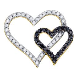 10kt Yellow Gold Round Black Color Enhanced Diamond Double Heart Pendant 1/2 Cttw