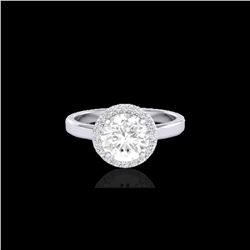 1.75 ctw Halo VS/SI Diamond Certified Micro Pave Ring 18K White Gold