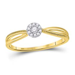 10kt Yellow Gold Round Diamond Solitaire Promise Bridal Ring 1/10 Cttw
