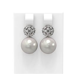 0.63 ctw Diamond and Pearl Earrings 18K White Gold