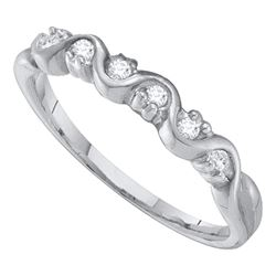 10kt White Gold Round Diamond Wavy Band Ring 1/10 Cttw