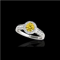 1.55 ctw Certified SI/I Fancy Intense Yellow Diamond Ring 10K White Gold