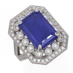 11.98 ctw Certified Sapphire & Diamond Victorian Ring 14K White Gold