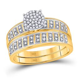 10kt Yellow Gold Round Diamond Bridal Wedding Engagement Ring Band Set 1/5 Cttw