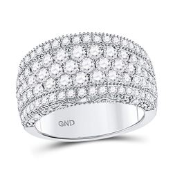 14kt White Gold Round Diamond Pave Groove Band Ring 2.00 Cttw