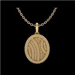 1 ctw Micro Pave VS/SI Diamond Certified Necklace 14K Yellow Gold