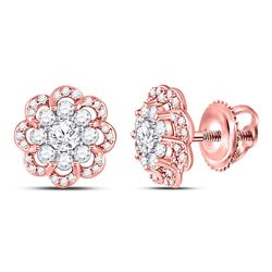 10kt Two-tone Gold Round Diamond Flower Halo Cluster Earrings 1.00 Cttw