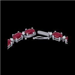 35 ctw Ruby & VS/SI Diamond Certified Eternity Necklace 10K White Gold