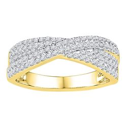 10kt Yellow Gold Round Diamond Crossover Band Ring 1/2 Cttw