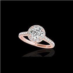 1.70 ctw Certified Diamond Solitaire Halo Ring 10K Rose Gold