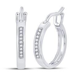 10kt White Gold Round Diamond Hoop Earrings 1/20 Cttw