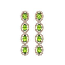 5.88 ctw Peridot & Diamond Micro Pave Halo Earrings 10K Rose Gold