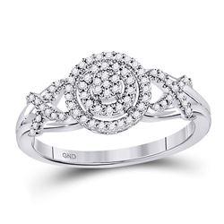 10kt White Gold Round Diamond Cluster Split-shank XO Ring 1/5 Cttw
